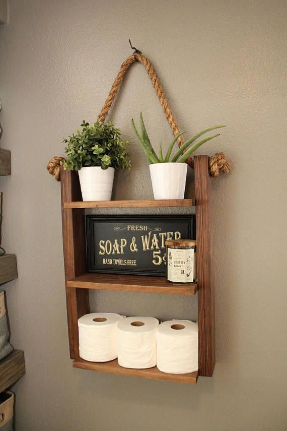 Hanging Bathroom Shelf Dimensions 25 High 18 Wide Shelves 15 5 5 Deep Wall Hook Is Not Include With Images Hanging Bathroom Shelves Cabin Furniture Rope Shelves