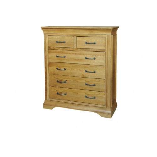 Solid Oak - FRC6 Lyon Oak 4+2 Chest of Drawers  www.easyfurn.co.uk