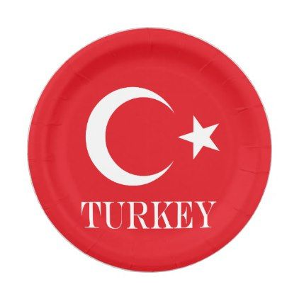 Flag of Turkey Paper Plate - decor gifts diy home & living cyo giftidea