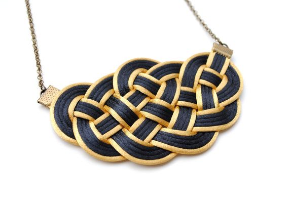 Big knot necklace black and gold nautical style by elfinadesign