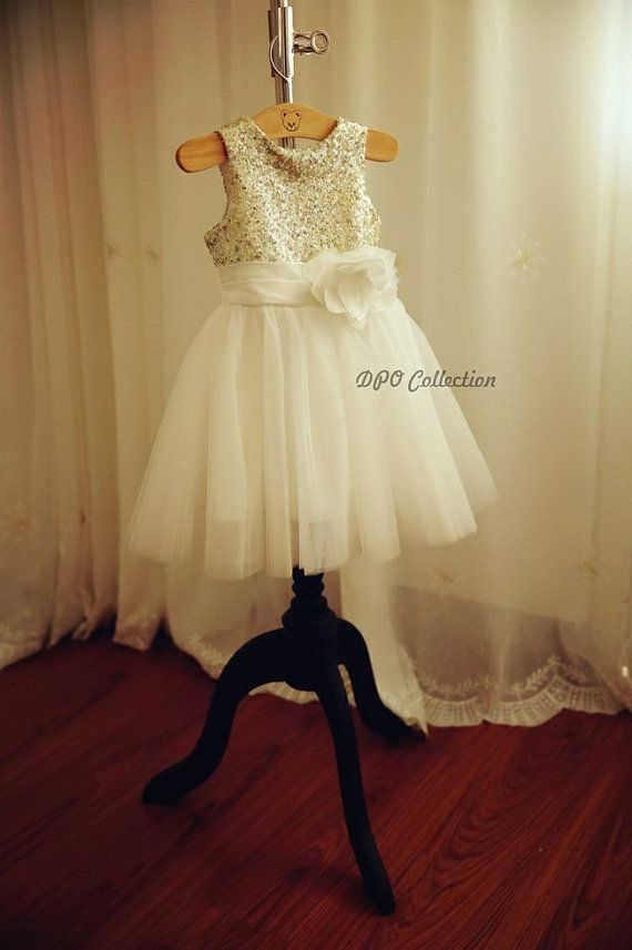 Champagne Gold Silver Sequins Light Gray Ivory Tulle By