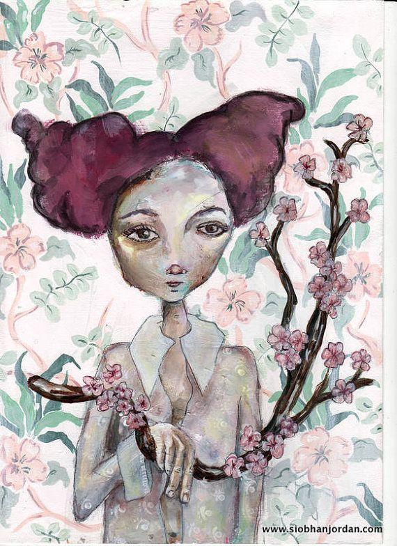 pink flowers red hair Floral Girly Art Print A by SiobhanJordan, €25.05
