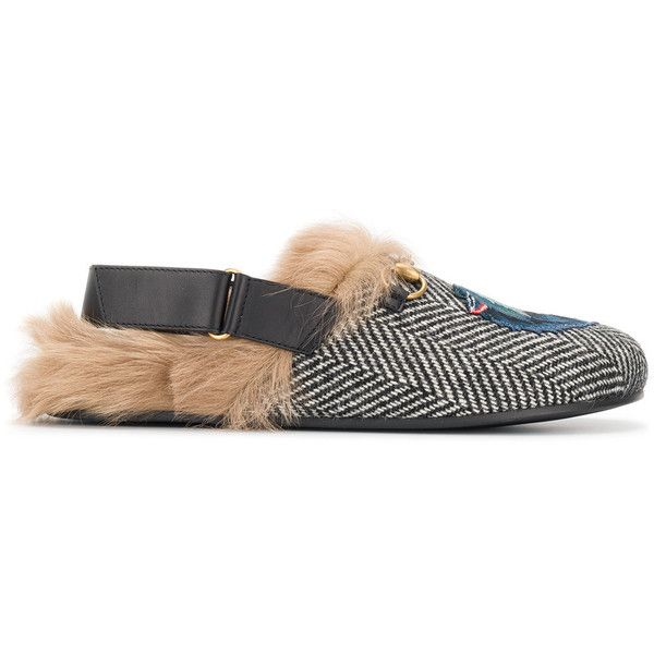 Gucci Gucci River slippers ($1,000) ❤ liked on Polyvore featuring men's fashion, men's shoes, men's slippers, grey, mens rubber sole shoes, mens fur lined shoes, mens flat shoes, mens gray shoes and mens leather slippers