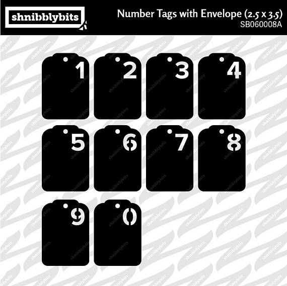 4 Sets of Number Tags with Folder 2.5x3.5