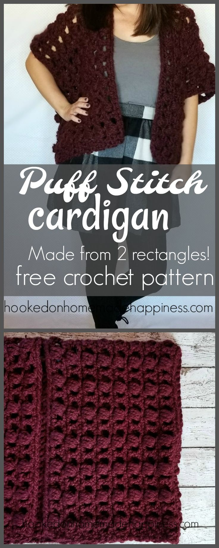 This fun cardigan is quick and easy to make. Made from just 2 rectangles! The rectangles are made from a simple 2 row repeat that works up quick. With the puff stitches, this project is a yarn eater and I used just over 444 yards of super bulky yarn. I used super bulky yarn for …