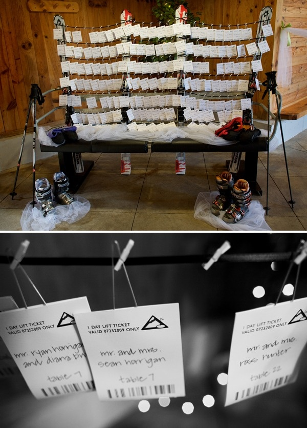Gotta have this too!  Ski lift ticket design as escort cards!  In addition to RSVP card being a ski lift ticket too!