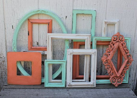 Set of 12 Open Frame Collection - Frame gallery - Coral and Mint - Aqua and Coral Decor - Picture Frames - Nursery, Office, Bedroom