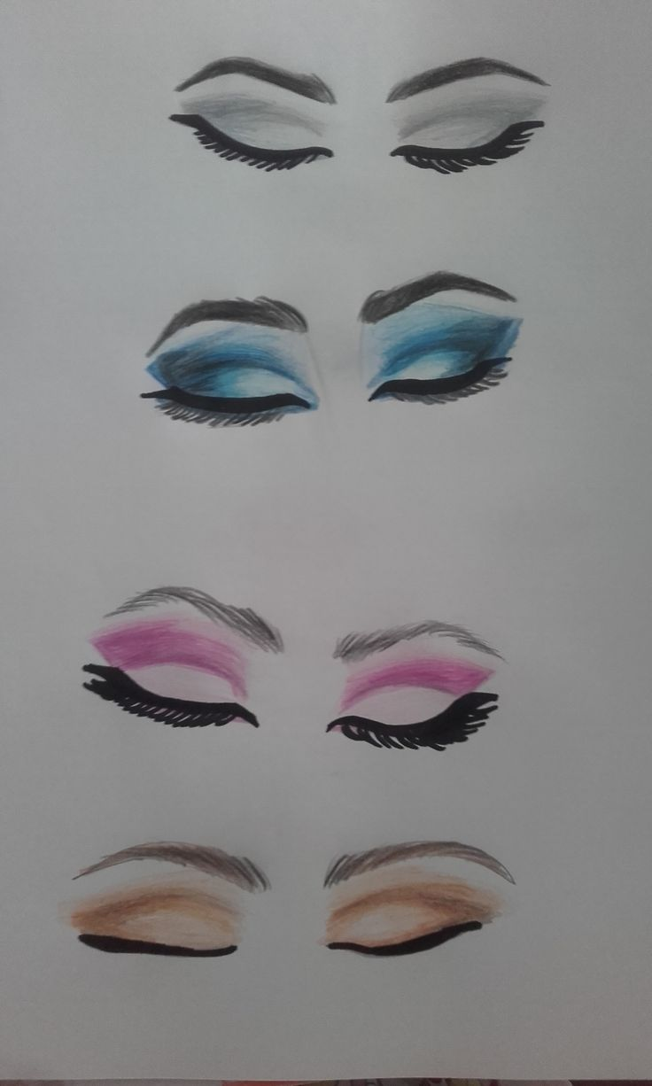 Eye Makeup-Drawing eyeshadow,eyebrows <3 with colors <3 lovee this!