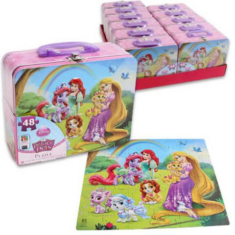 Disney 48-Piece Palace Pet Puzzle In Tin Lunch BoxDisney 48-piece Palace Pet puzzle in Tin Lunch Box features beautiful artwork with Disney Princess characters.Puzzle dimension 15 x 12.5