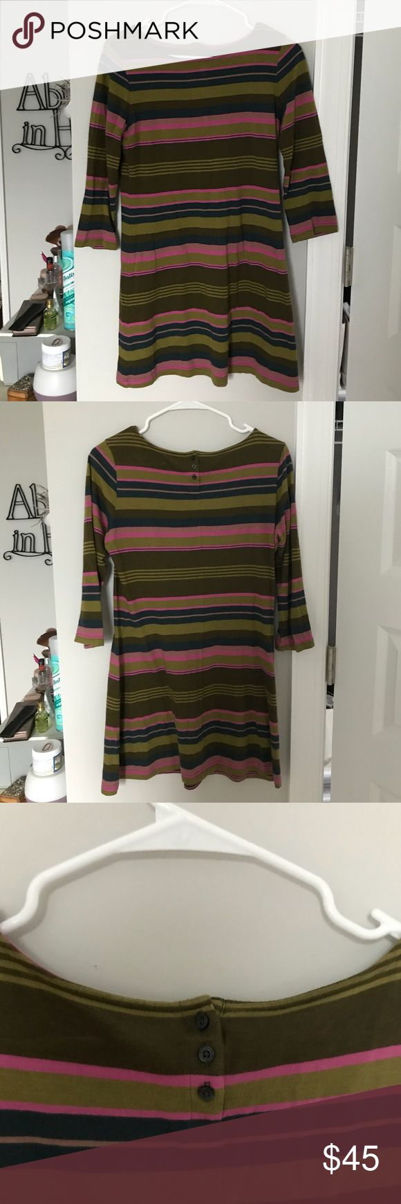 Striped Patagonia dress Green and pink striped Patagonia dress 3/4 length sleeves Patagonia Dresses Long Sleeve