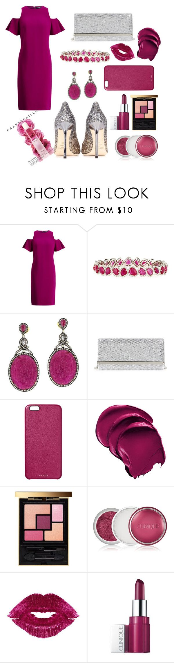 """Untitled #336"" by inesgenebra on Polyvore featuring beauty, Diana M. Jewels, Jimmy Choo, Chaos, Yves Saint Laurent, Clinique, Manic Panic NYC and Chantecaille"