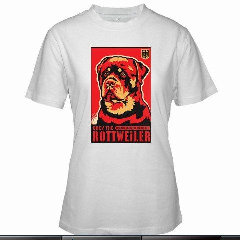Obey the Rottweiler Women White T-Shirt Size S to 3XL
