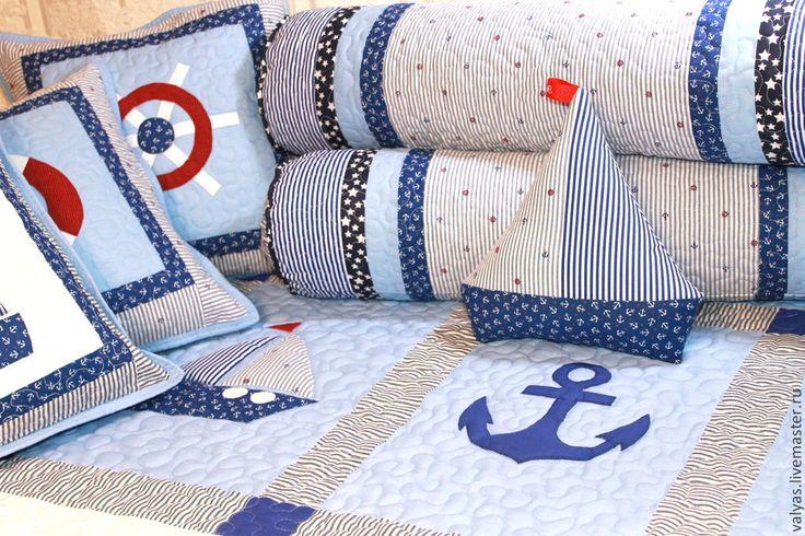 """Купить Детский комплект для мальчика """"Морской"""" - голубой, рисунок, покрывало для мальчика, комплект для мальчика"""