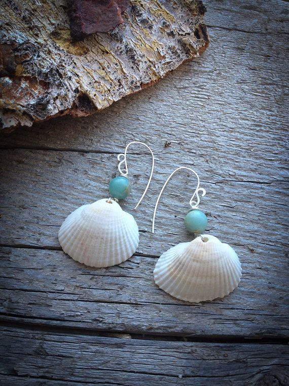 Iris - Simple Sea Shell Earrings with Blue Agate Beads