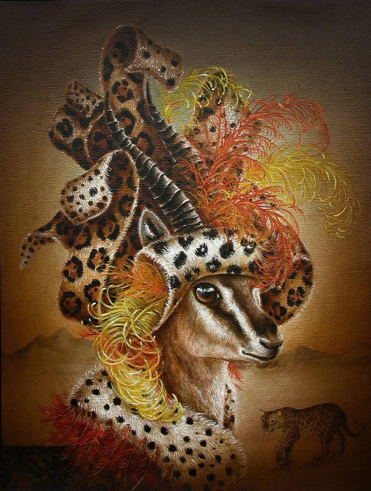 Gazelle Wearing Leopard (La Proie) from Modern Eden Gallery