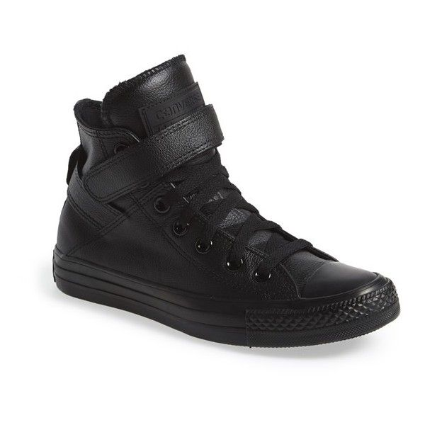 Converse Chuck Taylor All Star 'Brea' Leather High Top Sneaker ($75) ❤ liked on Polyvore featuring shoes, sneakers, converse, black, black leather, converse sneakers, velcro sneakers, black hi top sneakers, black shoes and black leather high tops