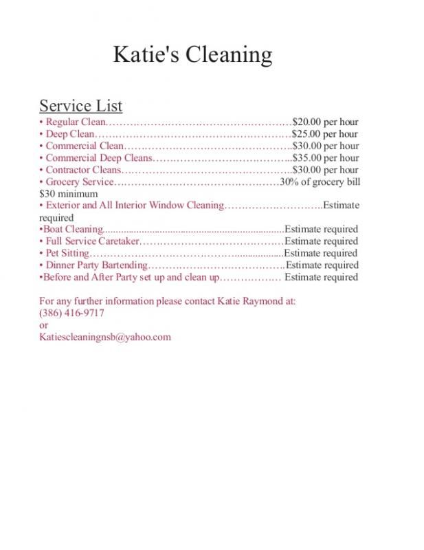 Cleaning Services Price List Template House Cleaning Prices Cleaning Services Prices Cleaning Service