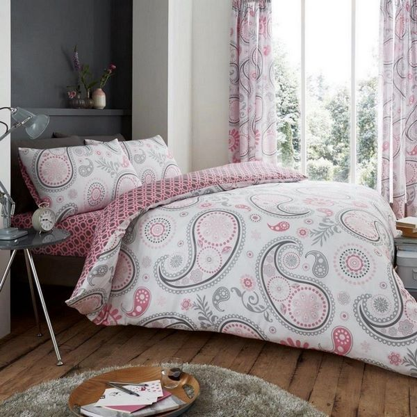 Grey And Pink Duvet Cover And Curtains Textile In Bedroom Decor Pink Gray Bed Sheets Bedroom Design Dec Duvet Bedding Duvet Cover Sets Bed Duvet Covers