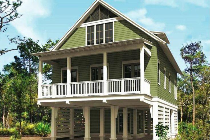 Beach Style House Plan - 3 Beds 2.5 Baths 1863 Sq/Ft Plan #443-12 Exterior - Front Elevation - Houseplans.com