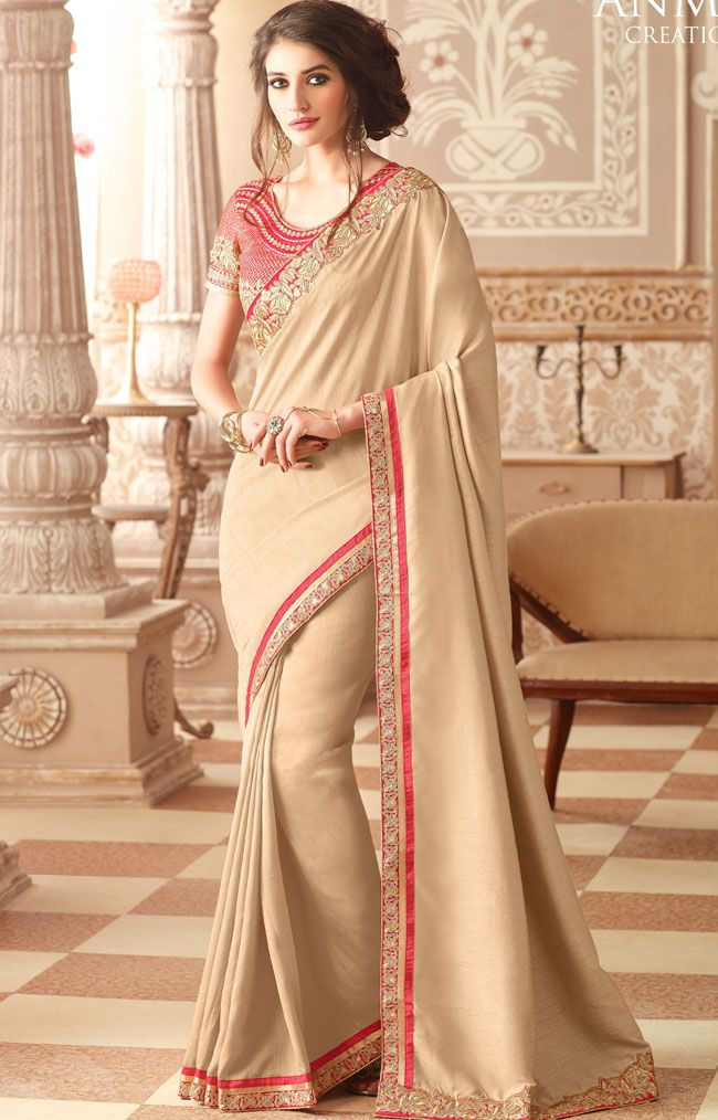 fc1b3100e0e169 Sandal Colored All Over Plain Body Designed Sana Silk Fancy Saree with  Patch work Border and Netted Designer Blouse Part.