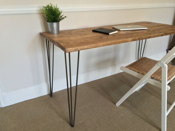 Rustic Wooden Desk 120cm Wide Made From Reclaimed Scaffold Boards U0026 Steel  Hairpin Legs   Industrial Urban Upcycle
