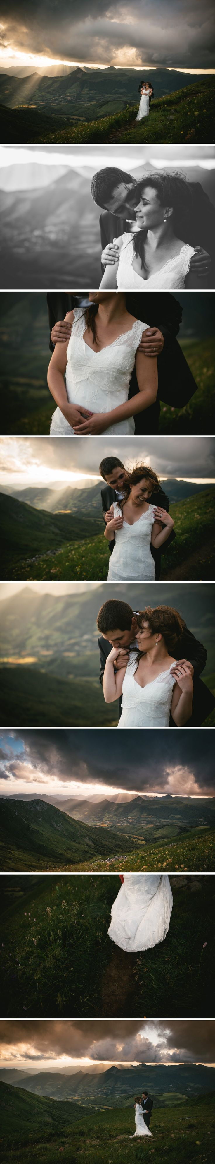 Couple getting married in the wind and rain on top of the Plomb du Cantal - Zephyr & Luna photography