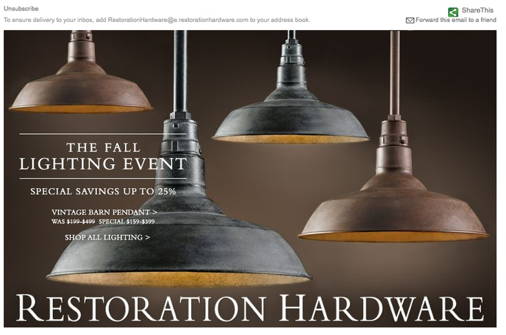 Restoration Hardware The Fall Lighting Event 16 09 11