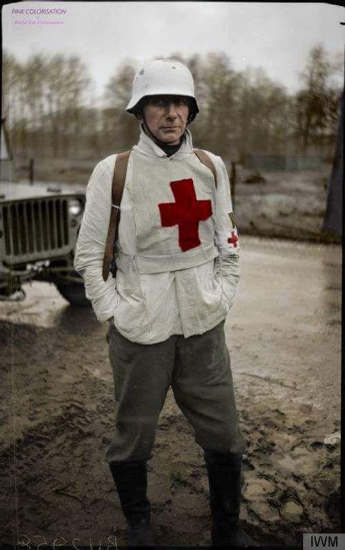 German medical captured at Ochtrup, near Gronau, 3 April 1945.