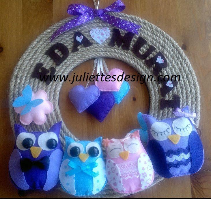 Kişiye özel kapı süsü. Keçe kapı süsü Felt wreath, felt owl wreath www.juliettesdesign.com