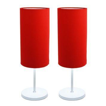 Conjunto Abajur Tube Tecido Vermelho Avelis