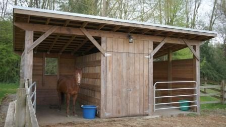 two horse shelter with feed or tack room.