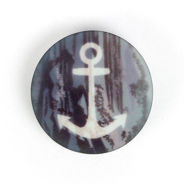 Kunststoffknopf Anker 13 (12) - Polyester - grau