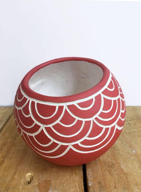 Red Hand Carved Ceramic Vessel Geometric Sgraffito by Seramiks
