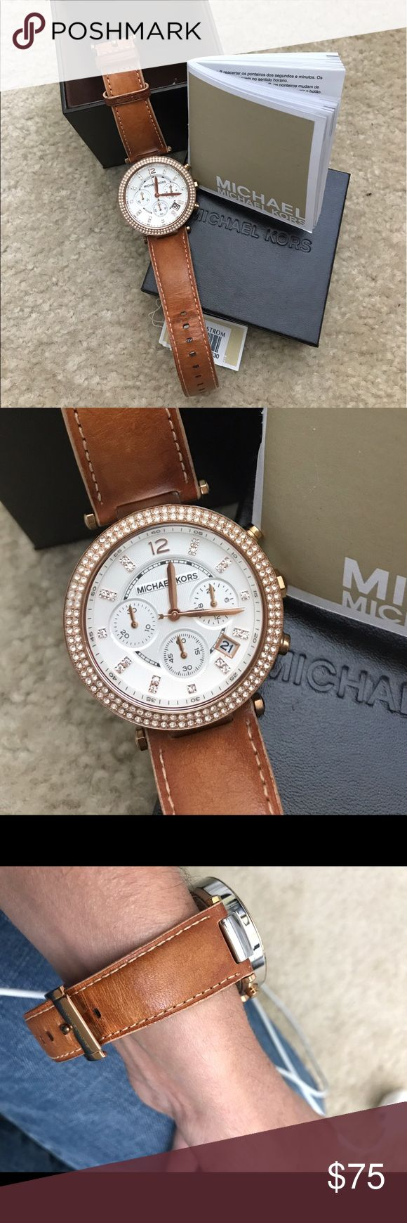 Michael Kors Parker Chronograph watch Used MK chronograph watch stainless steel case/leather strap, fixed rose gold tone bezel set with crystals.                                                                          Case diameter: 39 mm MICHAEL Michael Kors Accessories Watches