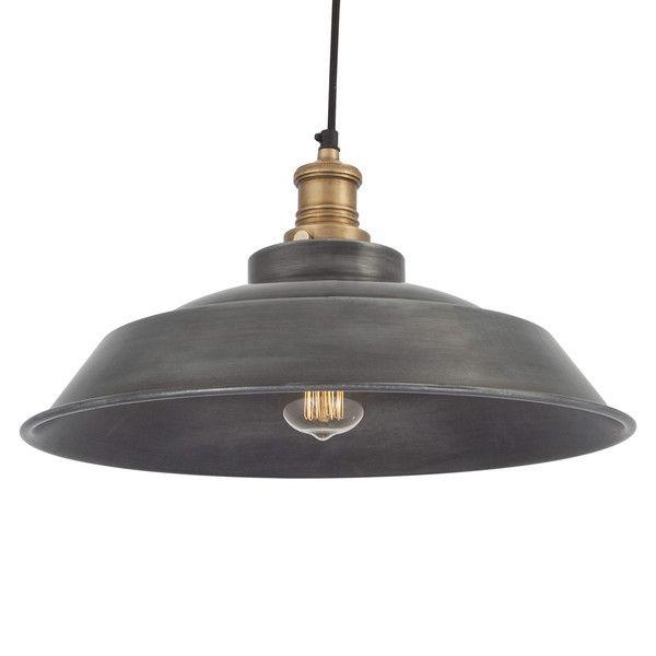 Brooklyn Vintage Step Metal Lamp shade - Dark Grey Pewter - 15 inch