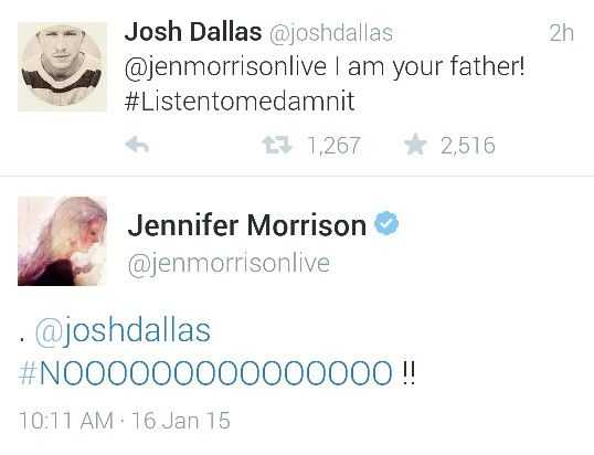 Josh Dallas and Jennifer Morrison. I love how they do this even when they are not in character!!