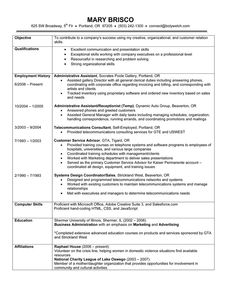 Chronological Resume Example // A chronological resume