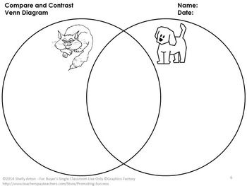 Compare Contrast: Students will use printable Venn diagram worksheets to compare and contrast the following examples: airplanes and cars;  cats and dogs; baseball and football; apples and oranges; mammals and fish; and rain and snow.
