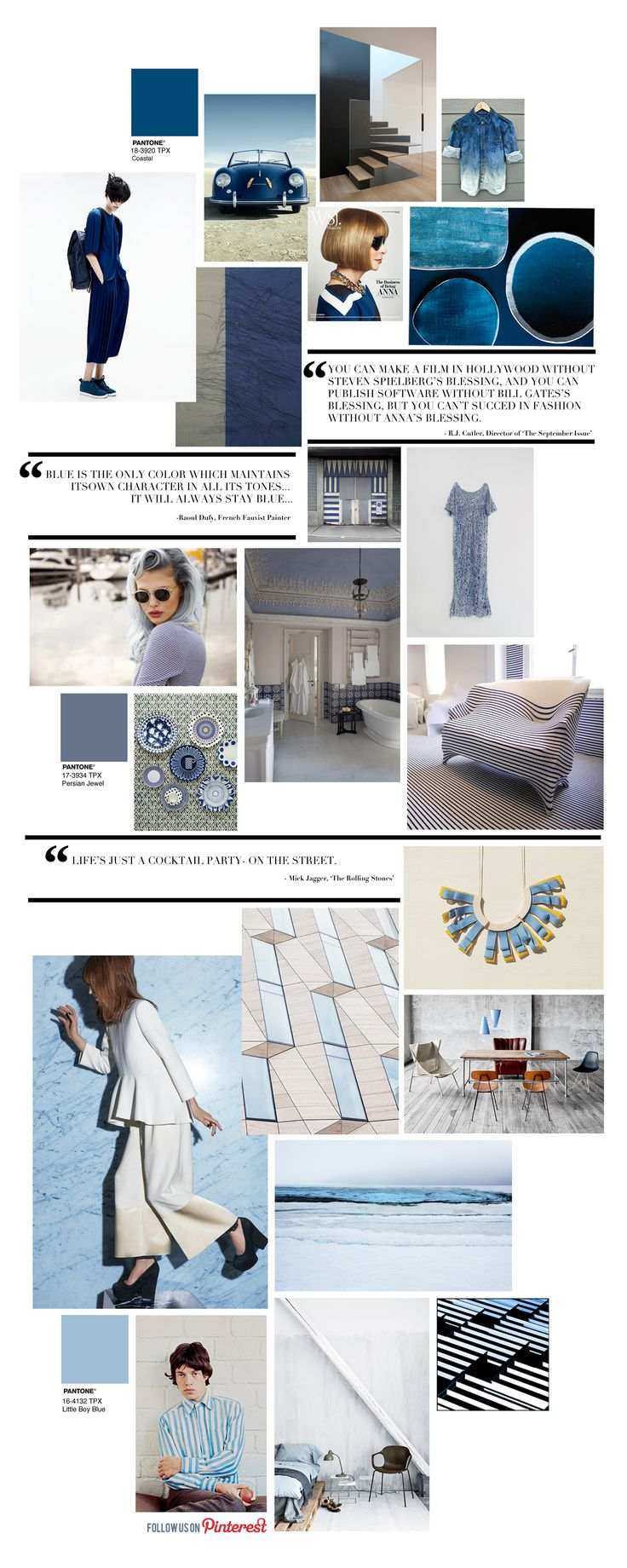 wonderful pantone collage: Blue - soft, dreamy, royal, and all it's moods --- Curating the Curated: Blue