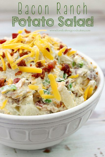 Bacon Ranch Potato Salad - Even people who don't like traditional potato salad like this! Perfect for cookouts or tailgating! by lovebakesgoodcakes, via Flickr