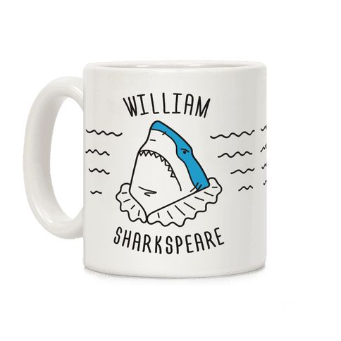 """William Sharkspeare - To sea or not to sea, that is the question. Celebrate your deep love of literature and puns with this """"William Sharkspeare"""" shark pun design! Perfect for a love of Shakespeare, shark puns, shark week, literature lovers, and shark gifts!"""