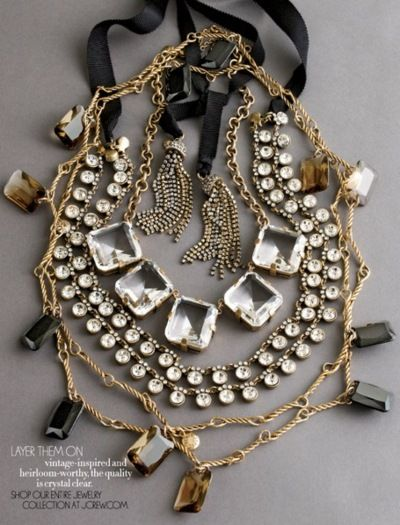 I really like the mix of gems and styles on these J.Crew necklaces. Layering them together can add a fun texture to your outfit.