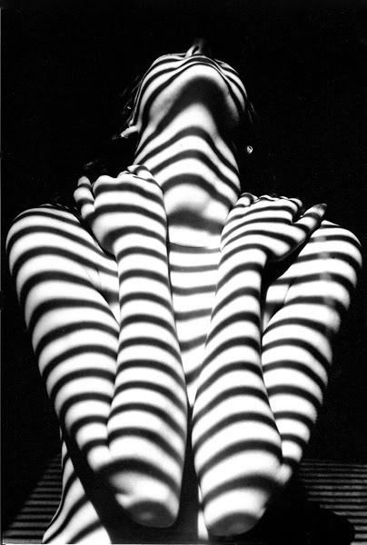 Black and white photography. Hard shadow photo Abstract portrait