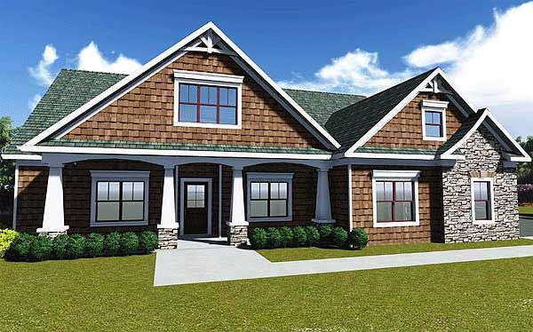 1946 sq. ft. Not my favorite plan. Like the living room. Architectural Designs House Plan 75400GB. Lots of photos! Ready to build.