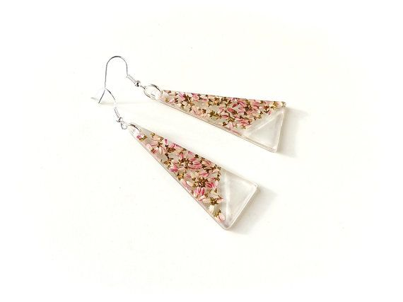 Large Heather Flower Earrings, Pink Resin Triangle Drop Earrings, Heather Jewellery, Resin Jewellery, Flower Botanical Jewellery, UK, 464