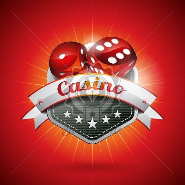 Vector illustration on a casino theme with dices and ribbon. EPS 10 design - Royalty Free Vector Illustration