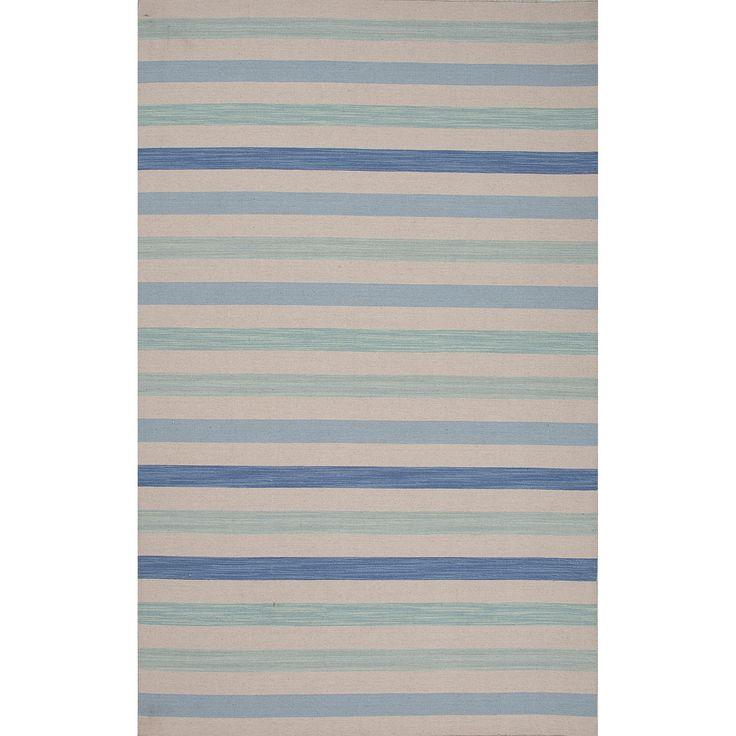 Coastal Impressions Flat-Weave Stripe Pattern Blue\Blue (8x10) Area Rug (8' x 10'), Blue, Size 8' x 10'