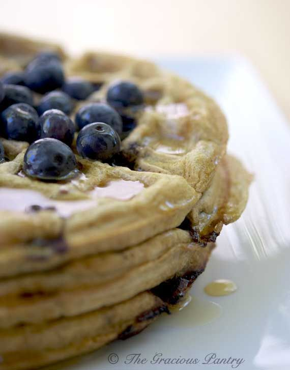Clean Eating Almond Lemon & Blueberry Waffles - I would replace the whole wheat flour with some almond flour & baking soda & cream of tartar to make it Paleo friendly