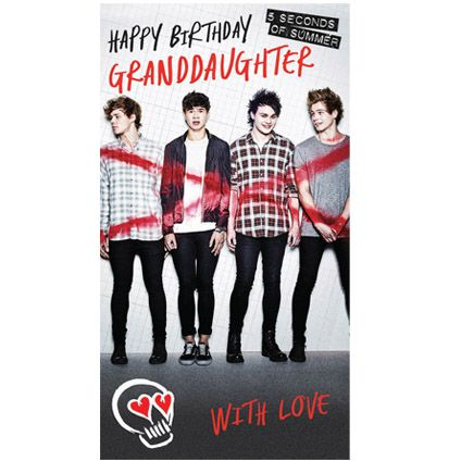 NEW Official #5SOS Granddaughter Birthday Card available direct from Publisher with Free UK Delivery at https://www.danilo.com/Shop/Cards-and-Wrap/5SOS-Cards