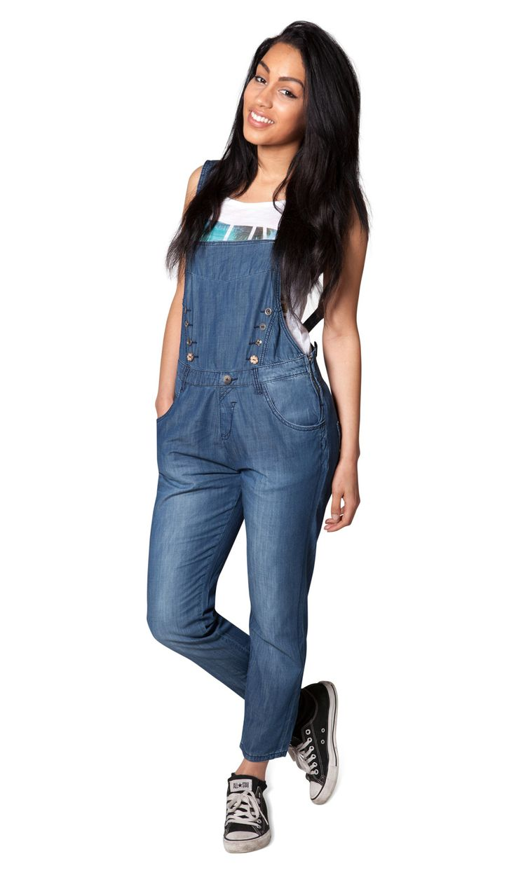 Women's 3/4 length Dungarees - relaxed fit, stonewash ...